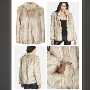 topshop faux fur jacket, US 8
